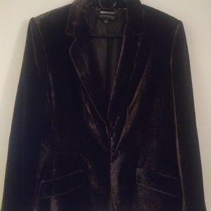 Anne Klein Suit Brown Velvet Blazer Jacket Size 14